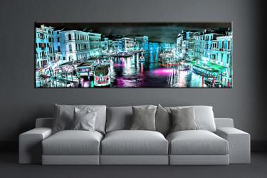 1 piece wall art, blue city multi panel art, city artwork, city huge large pictures, living room photo canvas