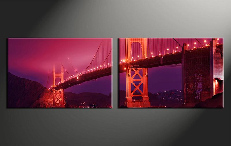 home decor art, 2 piece canvas art prints, city red canvas print, bridge