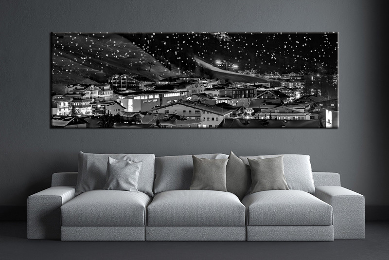 1 piece large pictures living room multi panel art city photo canvas black