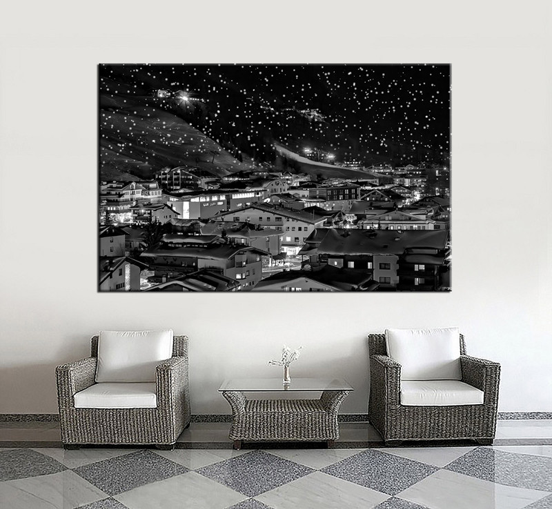 1 piece huge pictures living room multi panel canvas black and white city canvas