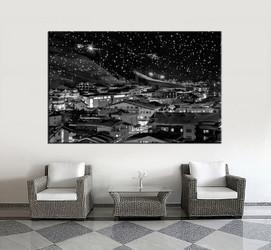 1 piece huge pictures, living room multi panel canvas, black and white city canvas art prints, city artwork, city decor