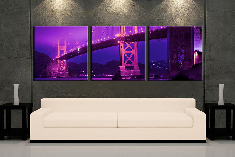 3 Piece Wall Art Multi Panel Purple City Large Canvas Huge