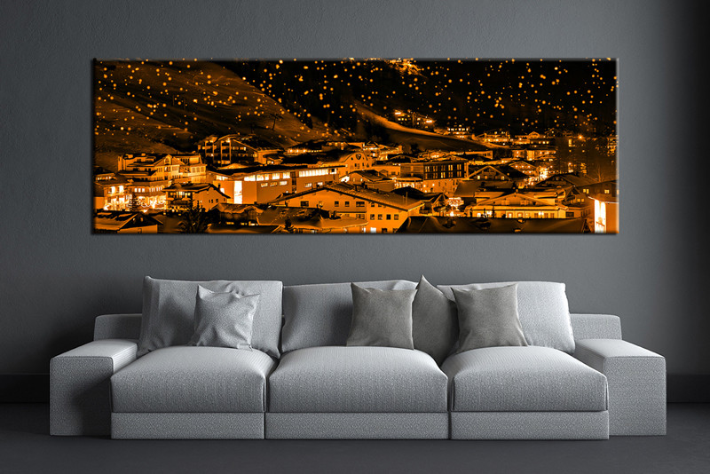 Panoramic Wall Art 1 piece orange artwork city canvas print