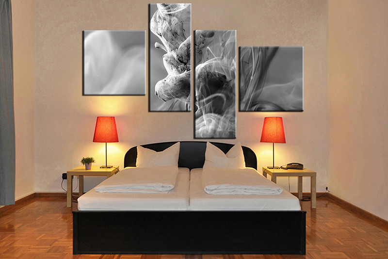Grey And White Wall Art 4 piece grey modern large canvas