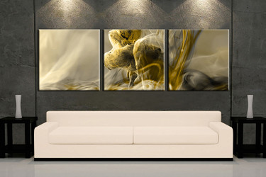 3 piece wall art, yellow modern multi panel art, modern artwork, modern huge large pictures, living room photo canvas