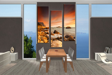 3 piece large canvas, dining room canvas wall art, Ocean yellow artwork, Ocean huge pictures, Ocean art