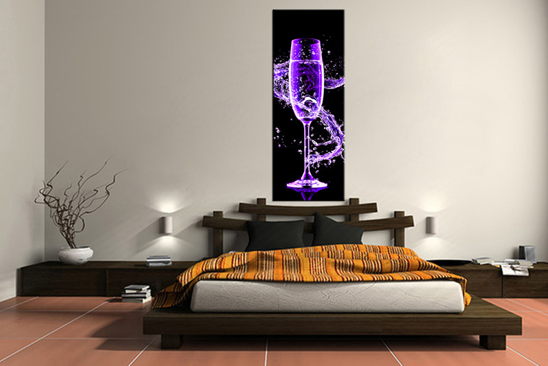 1 piece canvas wall art  bedroom Wine artwork  Wine pictures  purple canvas  print. 1 Piece Wine Large Canvas Purple Artwork