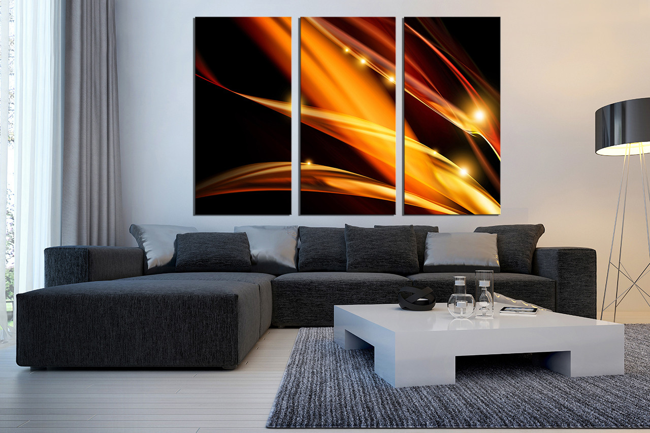 Triptych Modern Artwork Yellow Photo Canvas