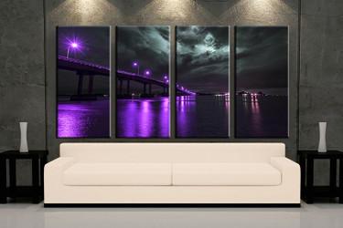 4 piece wall art, living room art, purple city multi panel art, city canvas print, bridge city huge pictures