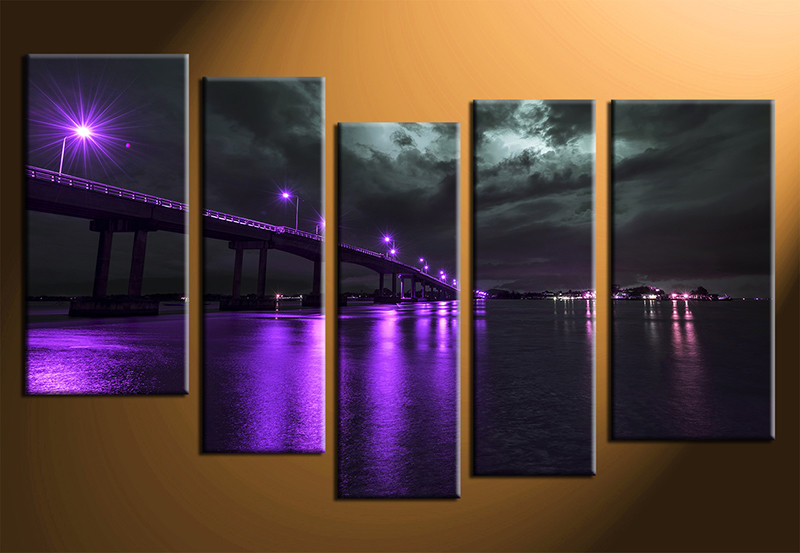 5 piece purple huge canvas art bridge city large pictures. Black Bedroom Furniture Sets. Home Design Ideas
