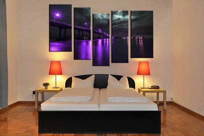 5 Piece Purple Huge Canvas Art Bridge City Large Pictures