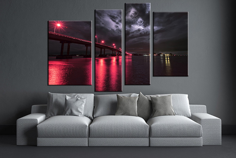 Marvelous 4 Piece Canvas Wall Art, City Artwork, City Bridge Wall Art, Red City