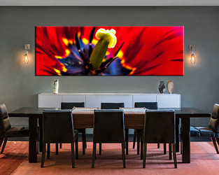 1 piece large canvas, dining room canvas wall art, floral red artwork, floral huge pictures, floral art