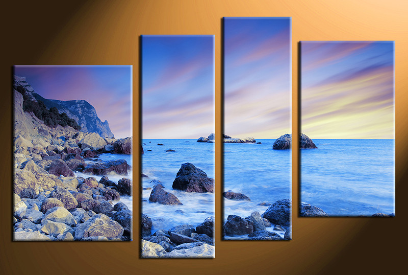 4 Piece Photo Canvas, Home Decor Artwork, Ocean Blue Multi Panel Canvas,  Ocean