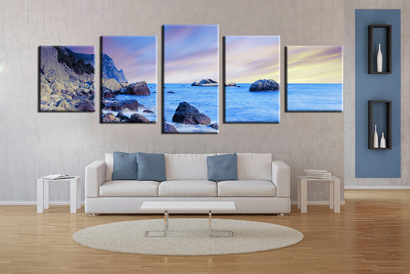 5 Piece Wall Art Living Room Blue Ocean Multi Panel