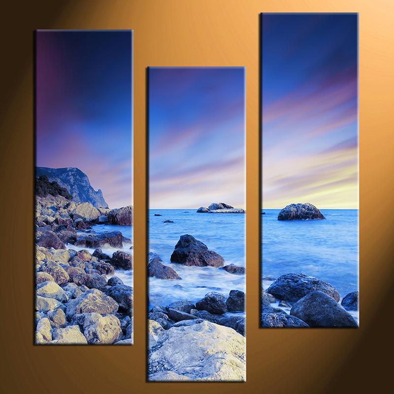 3 Piece Canvas Blue Ocean Large Pictures