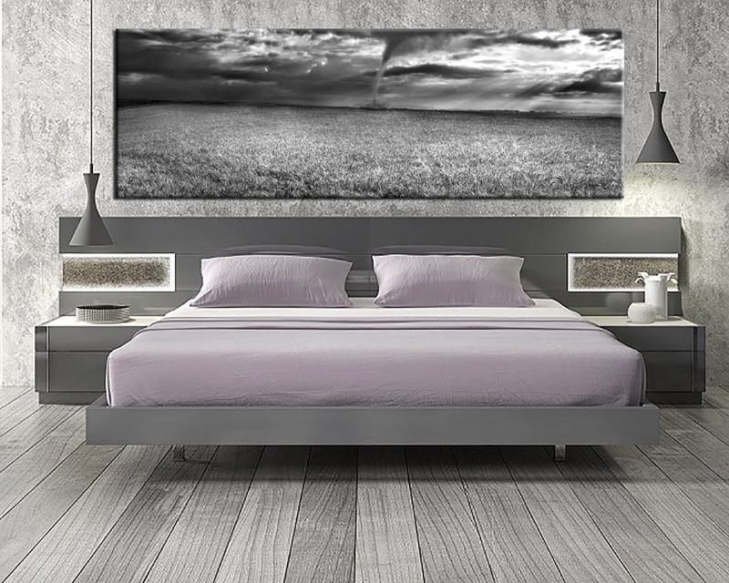 1 Piece Canvas Art Print, Bedroom Art, Scenery Multi Panel Art, Grey Scenery