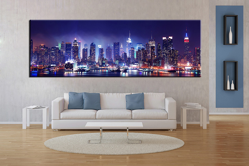 living room prints. 1 piece canvas wall art  blue city artwork pictures Piece Blue Panoramic City Canvas Art