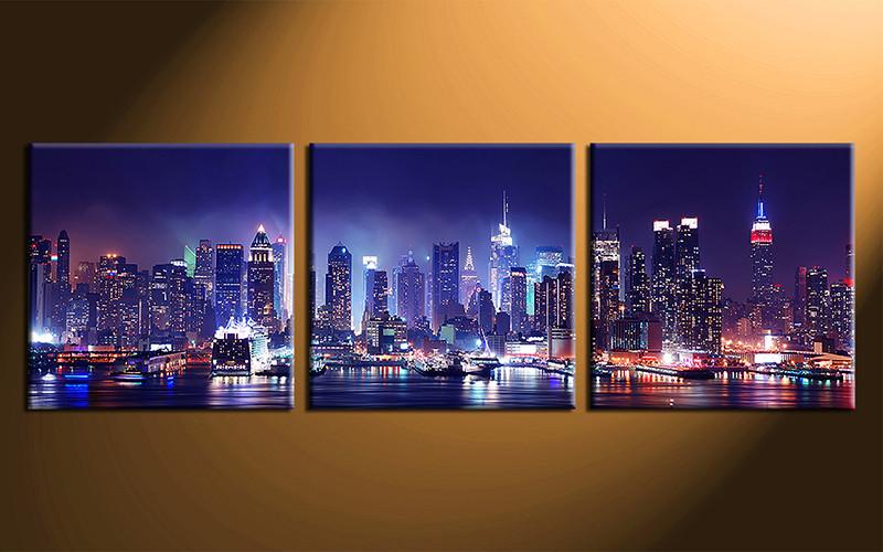 3 Piece Blue City Canvas Print Bridge Wall Art