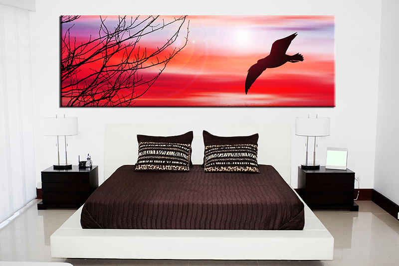 1 Piece Red Canvas Photography Bird Large Pictures