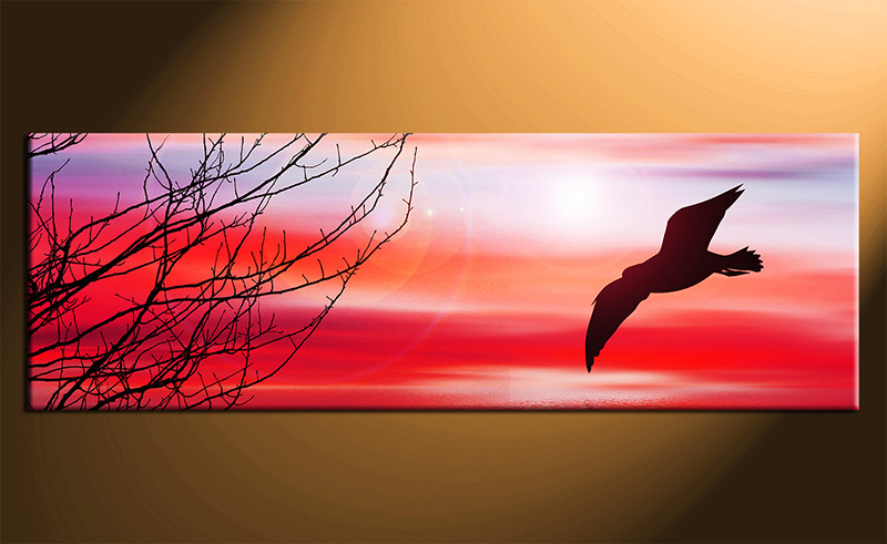Red Canvas Wall Art 1 piece red canvas photography bird large pictures