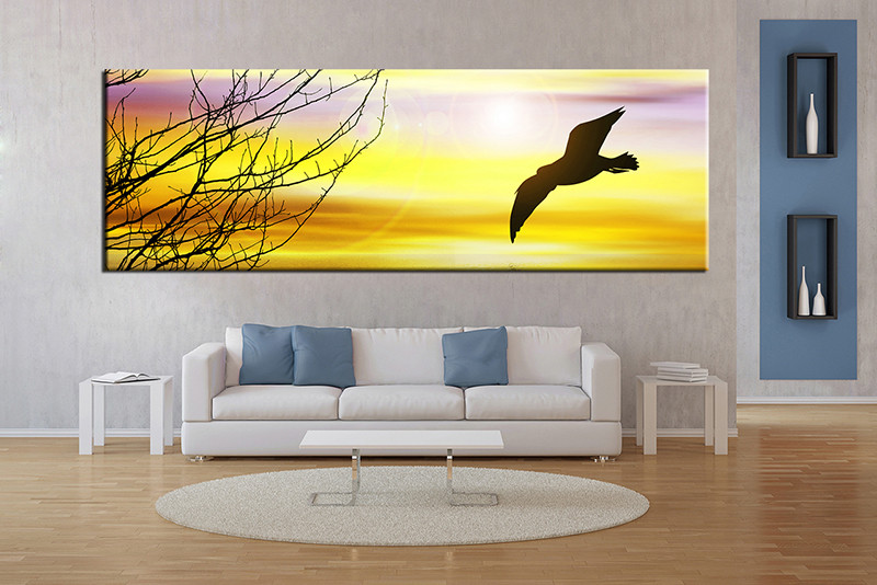 1 Piece Yellow Canvas Print Bird Huge Pictures