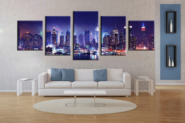 5 piece large pictures, living room multi panel art, blue city photo canvas, city artwork
