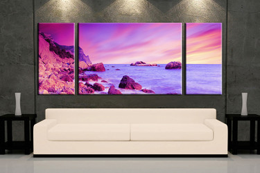 3 piece wall art, purple ocean multi panel art, ocean artwork, ocean huge large pictures, living room photo canvas