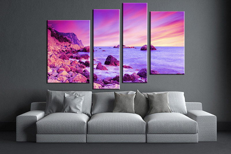 Large Paintings For Living Room Part - 50: 3 Piece Large Pictures, Living Room Multi Panel Art, Ocean Photo Canvas,  Ocean