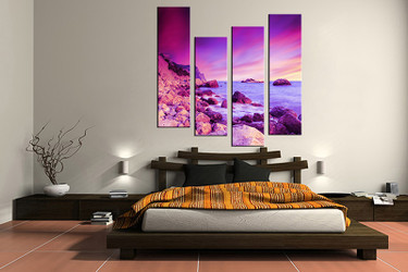 4 piece canvas print, bedroom canvas photography, ocean purple pictures, ocean canvas art print, ocean wall art