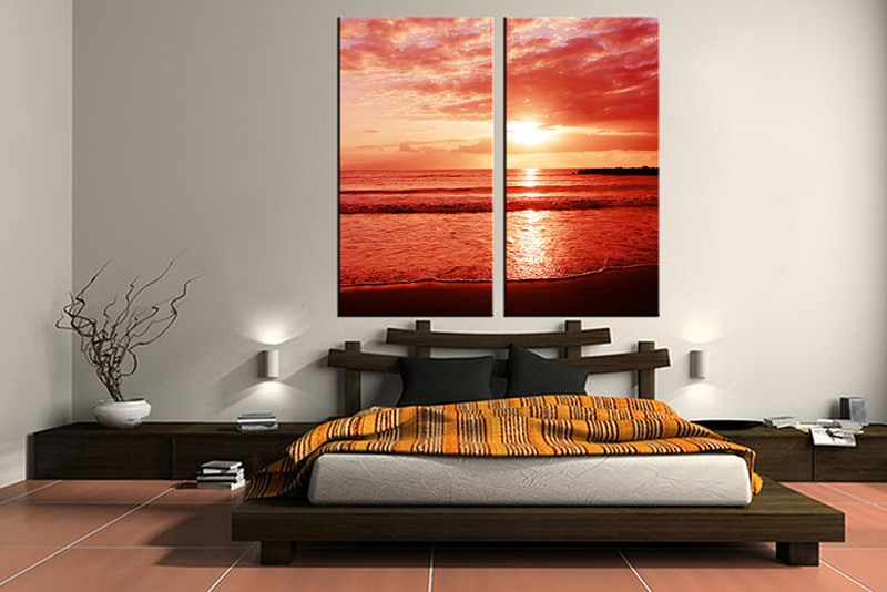Beautiful 2 Piece Canvas Wall Art, Bedroom Ocean Artwork, Ocean Pictures, Sunset  Canvas Print