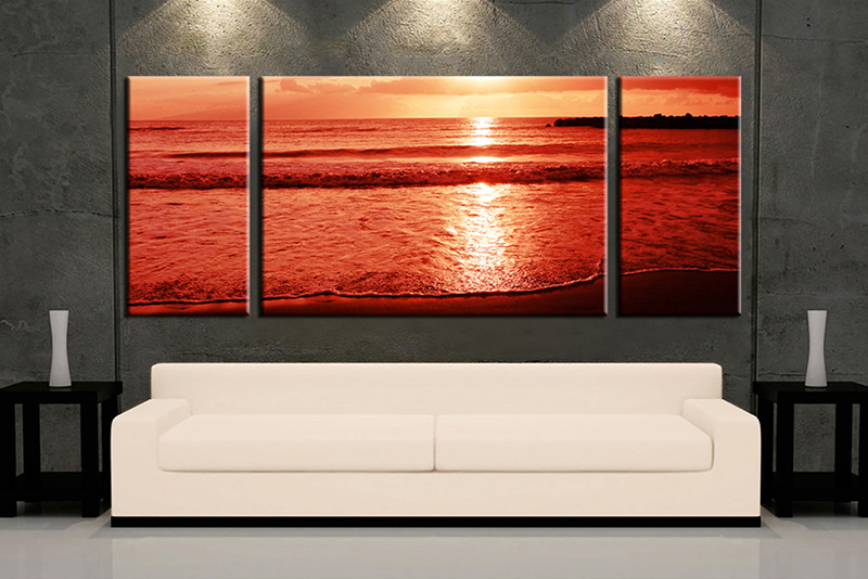 Living Room Art 3 Piece Canvas Wall Ocean Decor Artwork