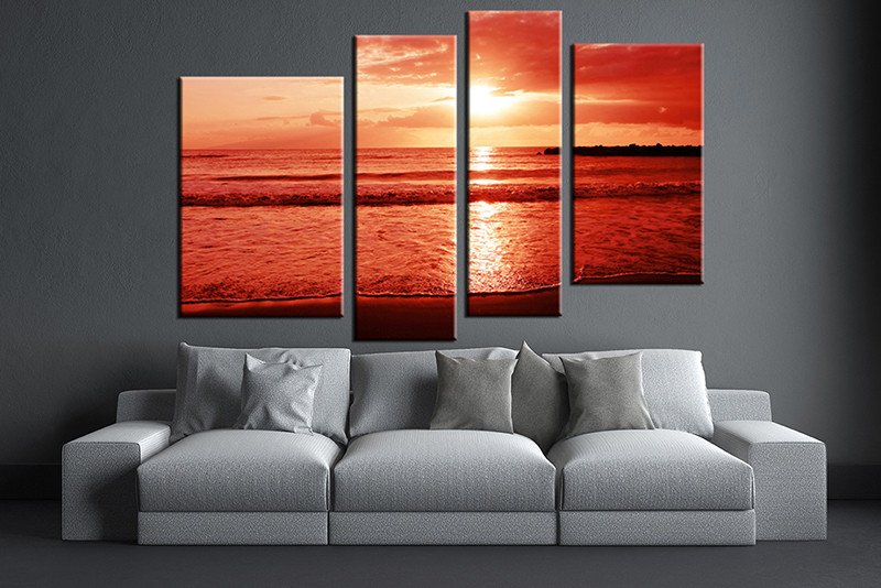 Living Room Art 4 Piece Canvas Wall Ocean Decor Artwork