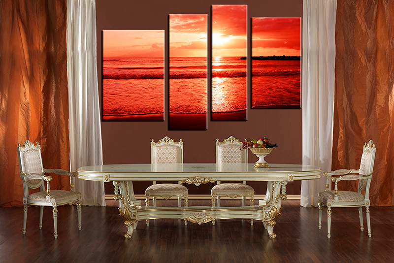 4 Piece Large Canvas Dining Room Artwork Ocean Wall Art Group