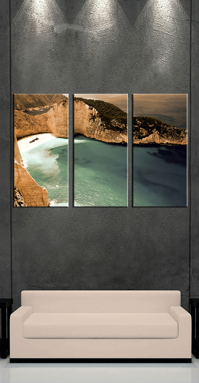 3 piece brown canvas print ocean large pictures for Buy large canvas prints