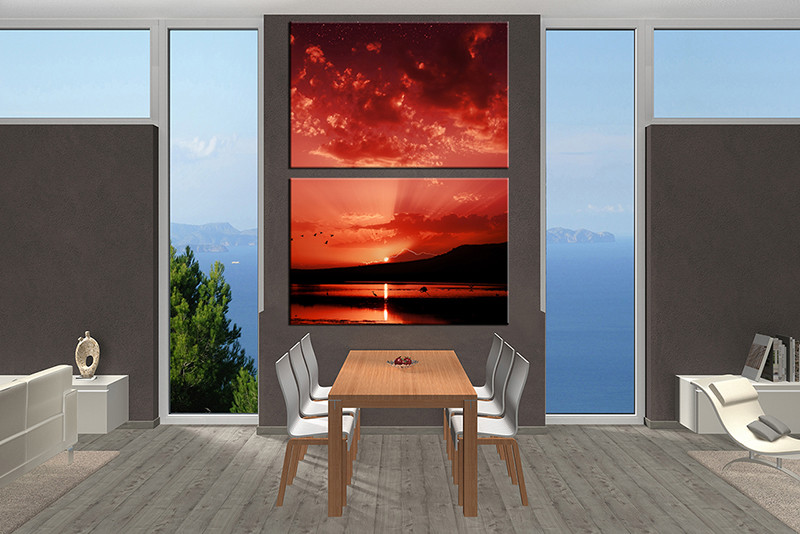 2 Piece Large Canvas, Dining Room Wall Art, Red Ocean Pictures, Bird Ocean