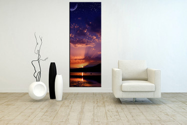 1 piece large pictures, living room multi panel art, ocean photo canvas, bird orange ocean artwork