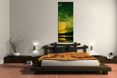 1 Piece Canvas Art Print, Bedroom Art, Green Ocean Multi Panel Art, Bird