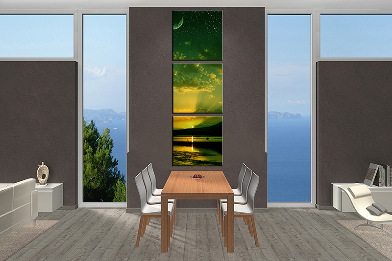 3 Piece Large Canvas Dining Room Wall Art Green Ocean Pictures Bird
