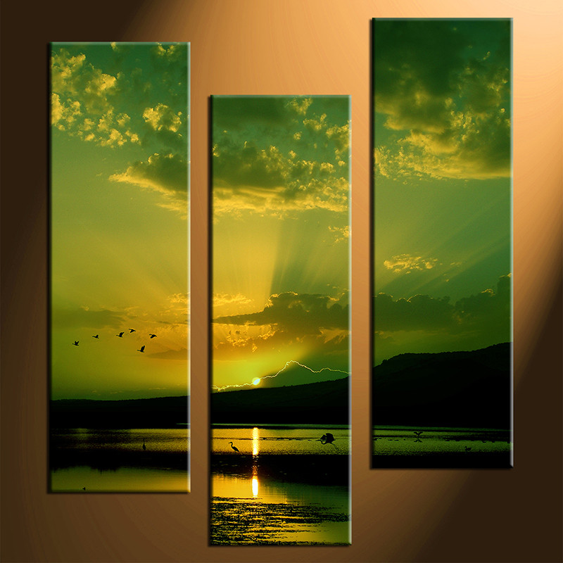 3 Piece Canvas Green Ocean Pictures Mountain Bird Wall Decor