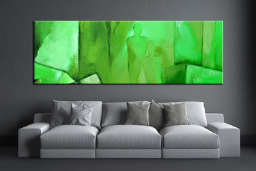 1 piece canvas wall art, living room huge canvas print, green abstract photo canvas, abstract large pictures