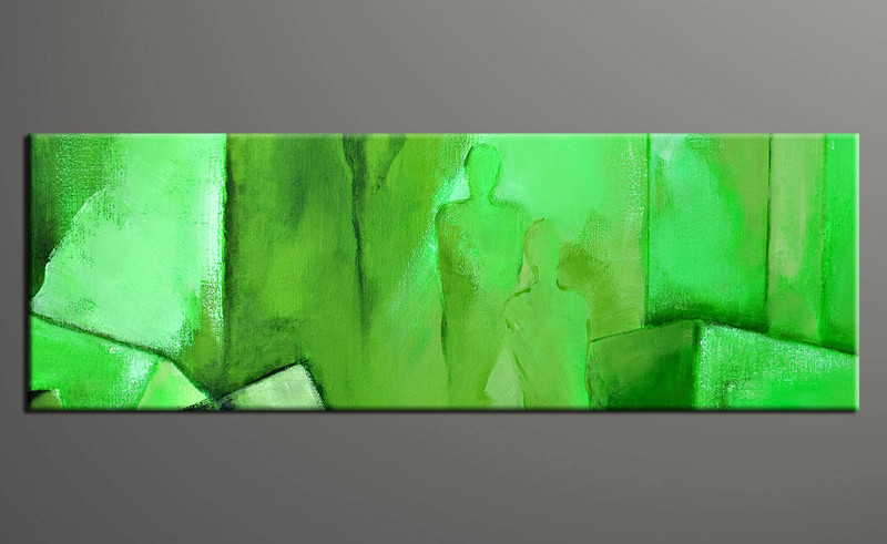 Large Abstract Wall Art 1 piece panoramic green abstract photo canvas