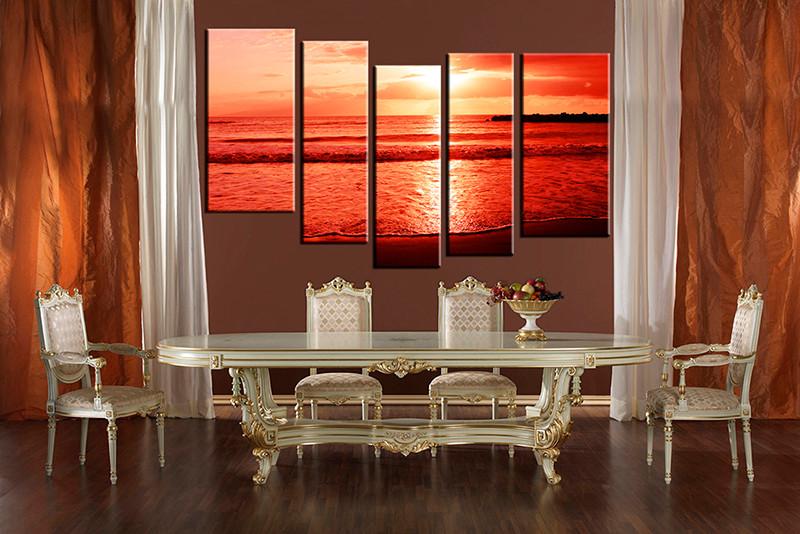 5 Piece Ocean Art Red Sunrise Photo Canvas