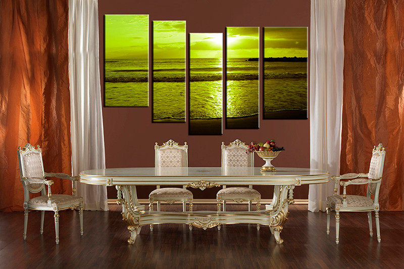 5 piece ocean sunrise green multi panel art