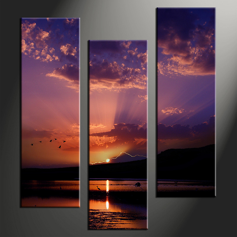 3 piece sunrise ocean purple canvas art for Canvas prints to buy