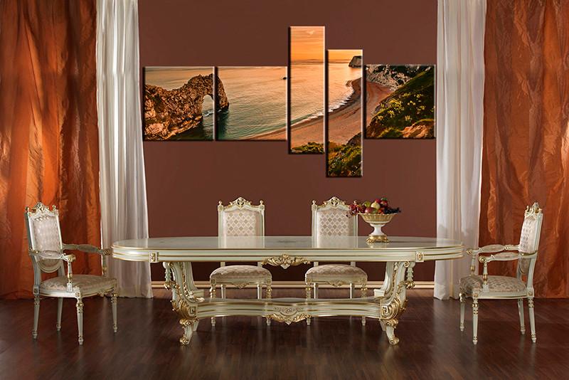 5 Piece Multi Panel Canvas, Dining Room Canvas Photography, Orange Ocean  Wall Art,