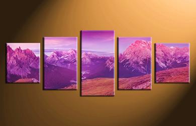 5 piece canvas wall art, home decor art, landscape canvas art print, landscape pictures, purple sky huge pictures