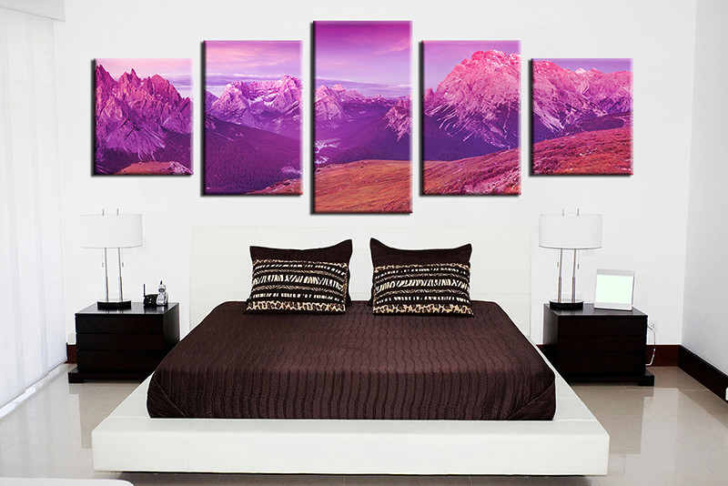 Purple Canvas Wall Art 5 piece mountain landscape purple huge canvas print