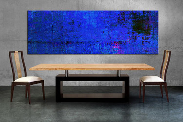 1 Piece Large Canvas Dining Room Wall Art Abstract Blue Artwork