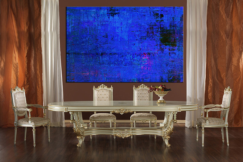 1 Piece Large Pictures, Dining Room Wall Decor, Blue Abstract Canvas Art,  Abstract